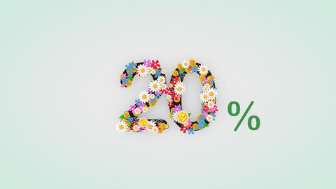 Numerical digit floral animation, 20 percent Animation