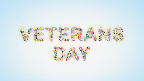 Veterans Day floral text background animation Animation