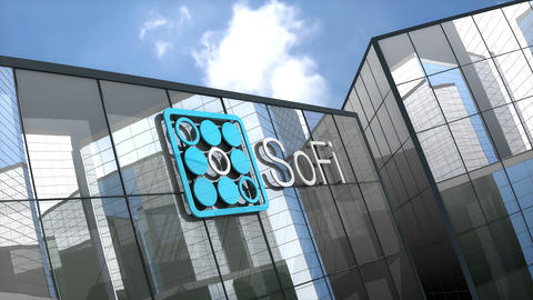 May 2019, Editorial use only, Social Finance Inc. logo on glass building Animation