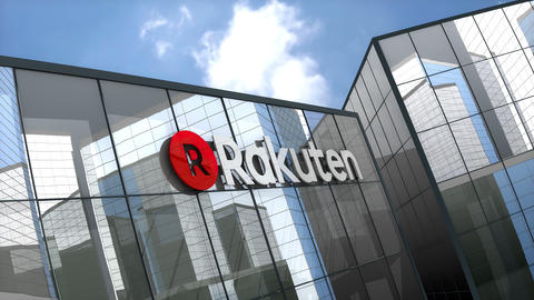 May 2019, Editorial use only, Rakuten, Inc. logo on glass building Animation