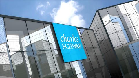 May 2019, Editorial The Charles Schwab Corporation logo on glass building Animation