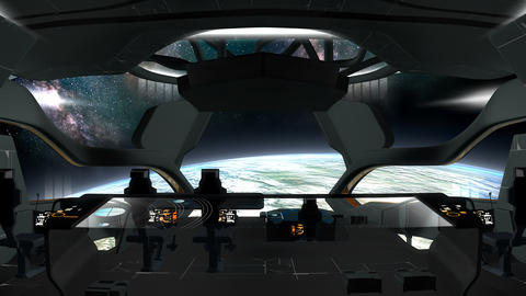 Sci-Fi spaceship command room view Animation