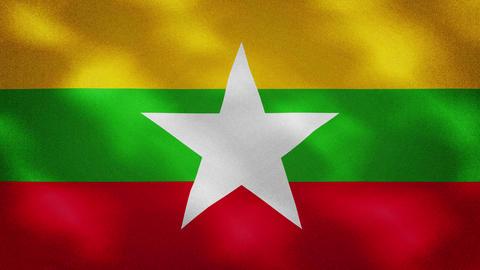 Myanmar dense flag fabric wavers, background loop Videos animados
