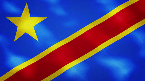 Congo DR dense flag fabric wavers, background loop CG動画