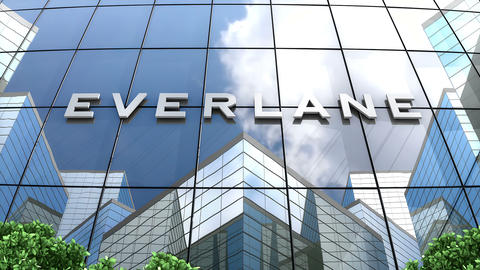 May 2019, Editorial use only, Everlane Inc logo on glass building Animation