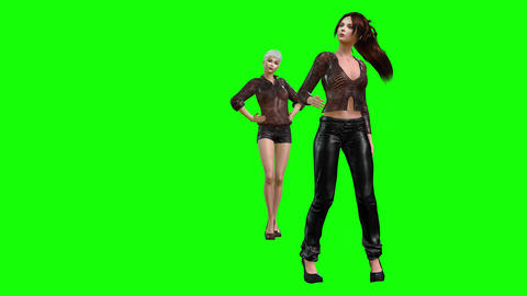 798 4k FASHION 3D computer generated two models present new clothes Animation