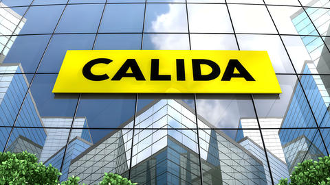 May 2019, Editorial use only, Calida logo on glass building Animation