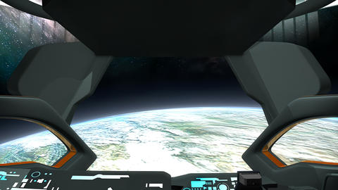 Sci-Fi spaceship command room Earth view Animation