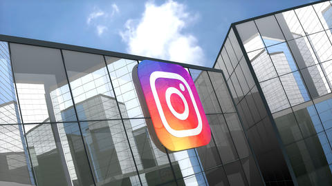 May 2019, Editorial use only, Instagram logo on glass building Animation