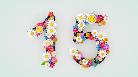 Numerical digit floral animation, 15 Animation