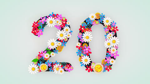 Numerical digit floral animation, 20 Animation
