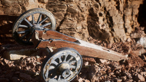 ancient historic gun in the stone canyon Live Action