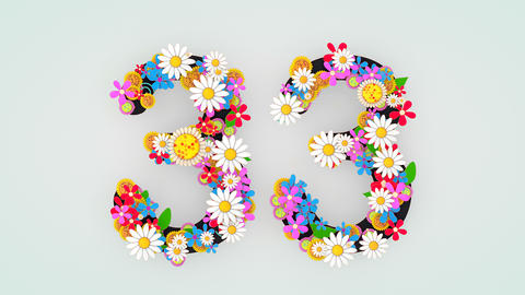 Numerical digit floral animation, 33 Animation