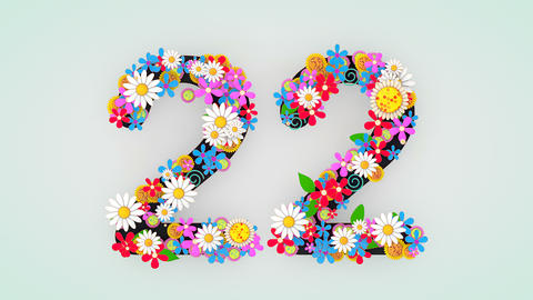 Numerical digit floral animation, 22 Animation