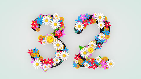 Numerical digit floral animation, 32 Animation
