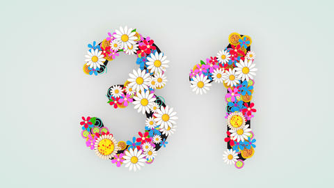 Numerical digit floral animation, 31 Animation