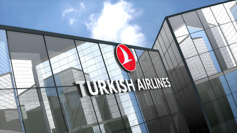 May 2019, Editorial use only, Turkish Airline logo on glass building Animation