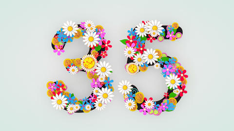 Numerical digit floral animation, 35 Animation