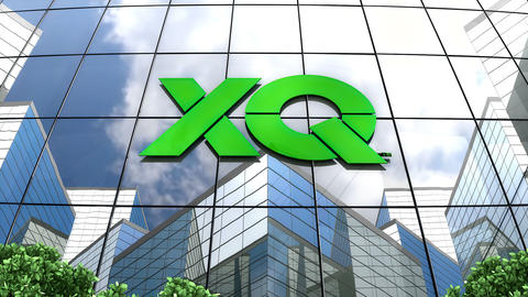 May 2019, Editorial use only, XQ Institute logo on glass building Animation