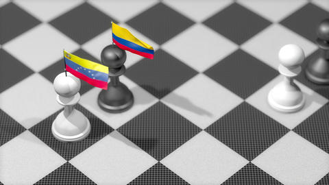 Chess Pawn with country flag, Venezuela, Columbia Animation
