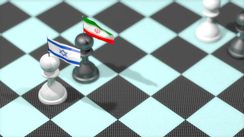 Chess Pawn with country flag, Israel, Iran Animation