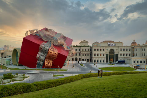 Luxurious shopping mall in Katara cultural village in Doha Qatar exterior sunset フォト