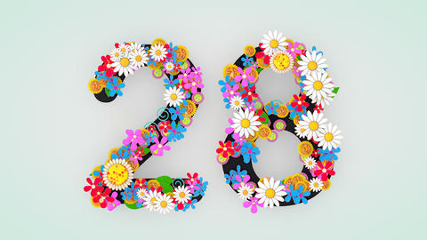 Numerical digit floral animation, 28 Animation
