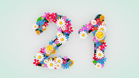 Numerical digit floral animation, 21 Animation