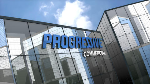 May 2019, Editorial use only, Progressive Commercial logo on glass building Animation