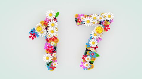Numerical digit floral animation, 17 Animation