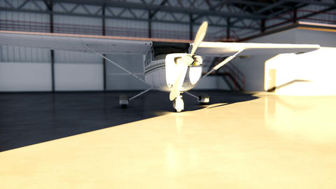 Hangar for aircraft with airplane at sunny summer day Animation