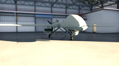 Military drone stands in his hangar on a Sunny day Animation