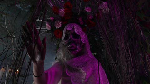 Fabulous stylization of Santa Muerte - Holy Death - modern religious cult Live Action