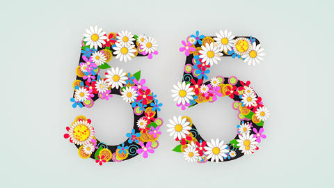 Numerical digit floral animation, 55 Animation
