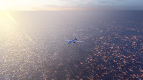 Military drone flies over the ocean at sunrise. The concept of military weapons Animation