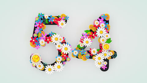 Numerical digit floral animation, 54 Animation
