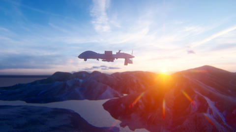 A military drone flies over a desert mountain plain at sunrise. The concept of military weapons Animation