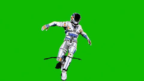 Astronaut-soldier of the future, dancing in front of a green screen. Looped realistic animation Animation