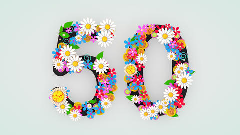 Numerical digit floral animation, 50 Animation