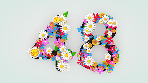 Numerical digit floral animation, 48 Animation