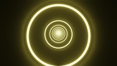 Yellow circle neon tunnel CG動画