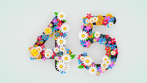 Numerical digit floral animation, 45 Animation