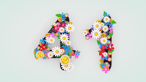 Numerical digit floral animation, 41 Animation