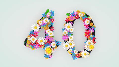 Numerical digit floral animation, 40 Animation