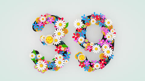 Numerical digit floral animation, 39 Animation