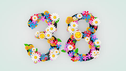 Numerical digit floral animation, 38 Animation