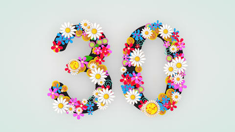 Numerical digit floral animation, 30 Animation