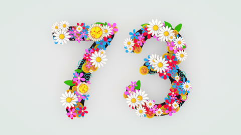 Numerical digit floral animation, 73 Animation