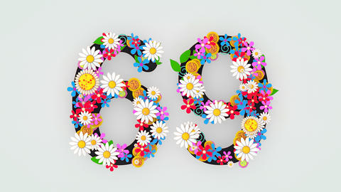 Numerical digit floral animation, 69 Animation