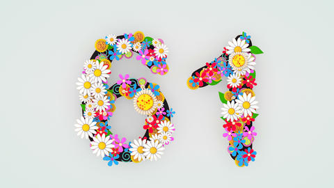 Numerical digit floral animation, 61 Animation